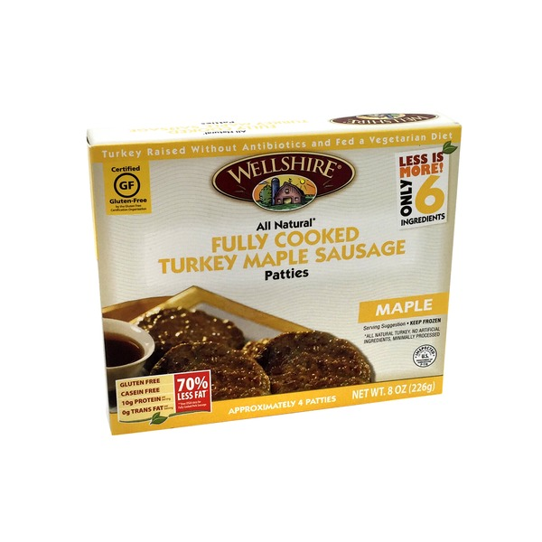 Wellshire Farms Fully Cooked Maple Sausage Turkey Patties