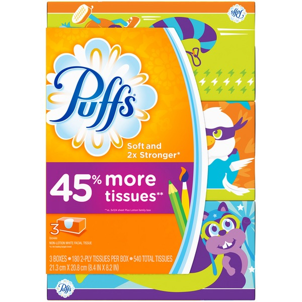 Puffs Basic Puffs Basic Facial Tissues, 3 Family Box, 180 Tissues per Box Personal Tissue