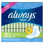Always Maxi Size 2 Long Super Pads with Wings, Unscented, 42 Count
