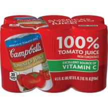 Campbell's 100% Juice, Tomato, 5.5 Fl Oz, 6 Count