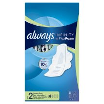 Always Infinity Size 2 Super Pads with Wings, Unscented, 32 Count