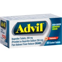 Advil Film-Coated (80 Count) Pain Reliever / Fever Reducer Tablet, 200mg Ibuprofen, Temporary Pain Relief