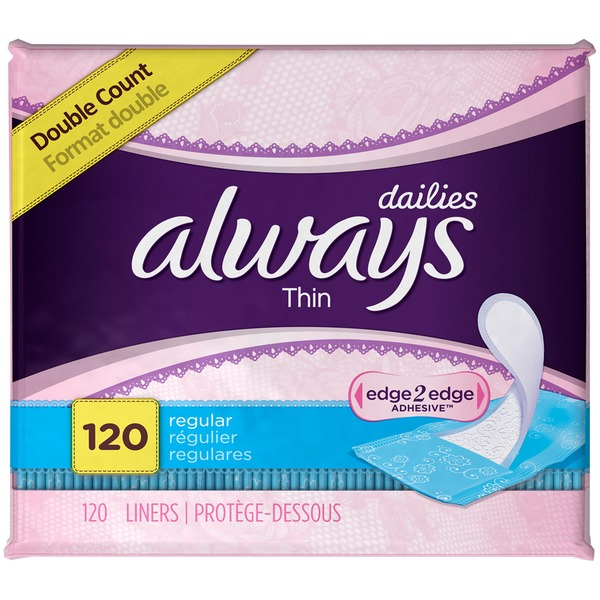 Always Thin Dailies Unscented Wrapped Pantiliners, 120 count Feminine Care