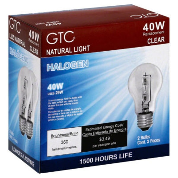GTC 40 Watt Halogen Clear Light Bulbs