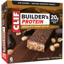 Clif Builder's Bar, 20 Grams of Protein, Chocolate Peanut Butter, 2.4 Oz, 6 Ct