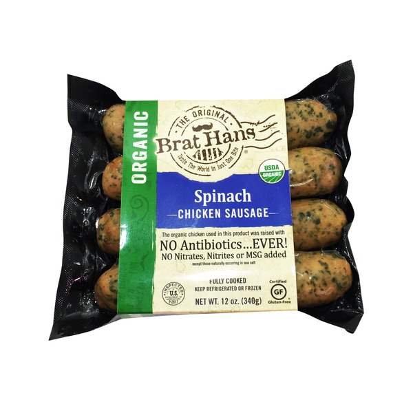 Brat Hans Organic Spinach & Feta Cheese Chicken Sausage