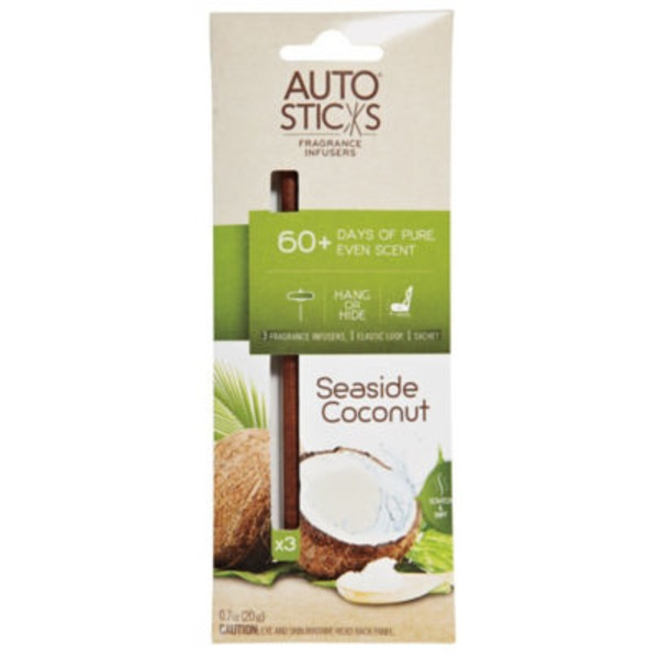 Enviroscent Auto Sticks Fragrance Infusers, Seaside Coconut