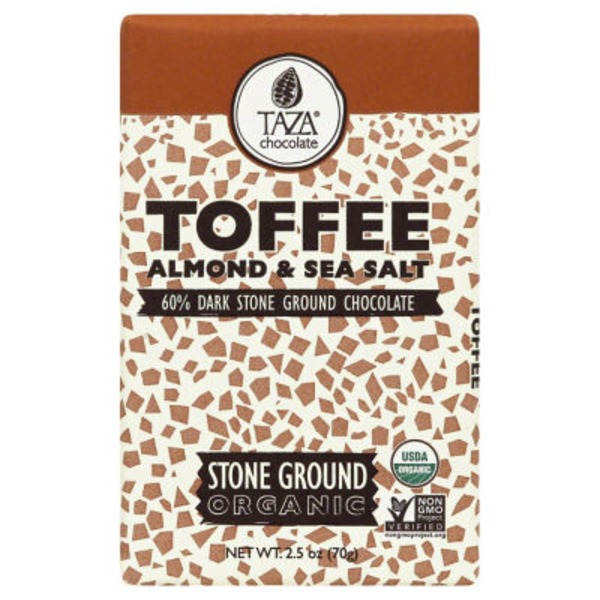 Taza Dark Chocolate, Stone Ground, Organic, Toffee Almond & Sea Salt