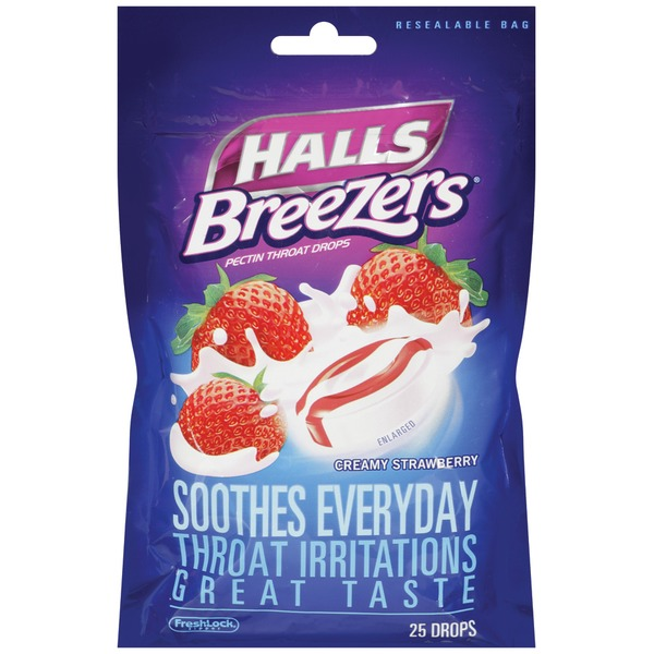 Halls Breezers Creamy Strawberry Pectin Throat Drops
