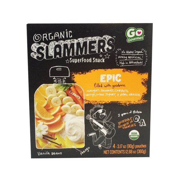 Slammer's Epic Fruit & Yogurt Filled Pouches Organic Superfood Snack