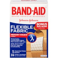 Band Aid® Adhesive Bandages, Flexible Fabric, Assorted Sizes