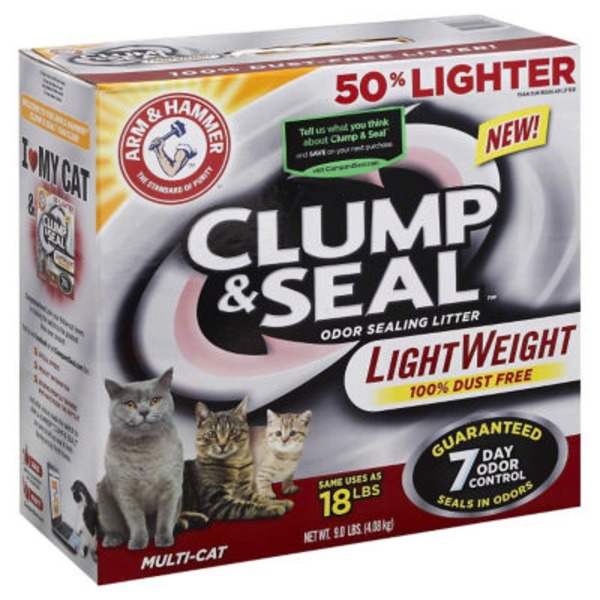 Arm & Hammer Clump & Seal LightWeight Multi-Cat Odor Sealing  Cat Litter