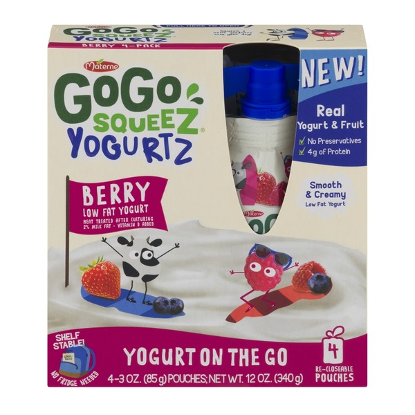 GoGo Squeez Yogurtz Low Fat Yogurt Berry - 4 CT