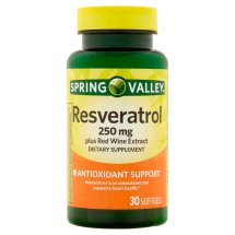 Spring Valley Resvervatrol plus Red Wine Extract Softgels, 250 mg, 30 Ct
