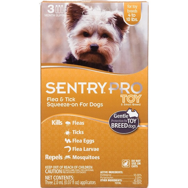 Sentry Pro Pro Squeeze On Toy & Small Breed Dog Flea & Tick Treatment