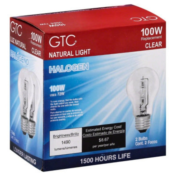 GTC 100 Watt Halogen Clear Light Bulbs