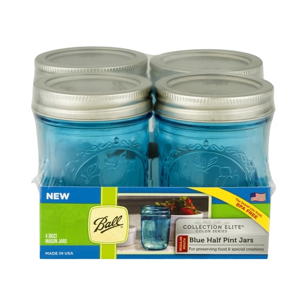Ball Collection Elite Half Pint Jars Blue - 4 CT