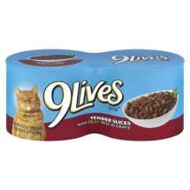 Morris 9Lives Hearty Cuts with Real Beef & Chicken in Gravy Cat Food, 5.5 oz, 4 count