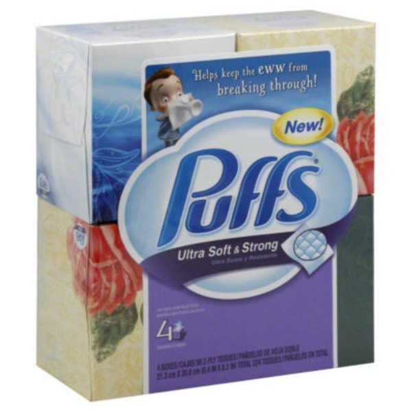 Puffs Ultra Soft & Strong Puffs Ultra Soft & Strong Facial Tissues, 4 Cubes, 56 Tissues per Cube Personal Tissue