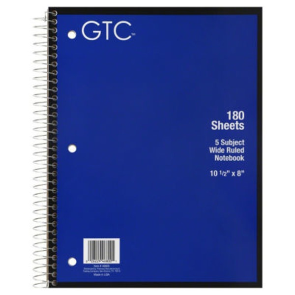 GTC 5 Subject Wide Ruled Notebook 180 Sheets, 10 1/2 in X 8 in