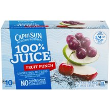 Capri Sun 100% Juice, Fruit Punch, 6 Fl Oz, 10 Count