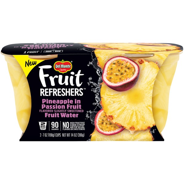 Del Monte Fruit Refreshers Pineapple in Passion Fruit Flavored Slightly Sweetened Fruit Water Fruit Cups