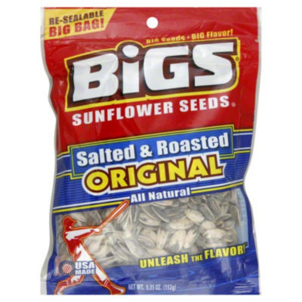 Bigs Sunflower Seeds, Salted & Roasted Original, Re-Sealable Big Bag!