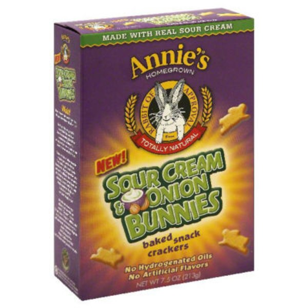 Annie's Homegrown Sour Cream & Onion Bunnies Baked Snack Crackers Snack Crackers