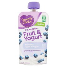 Parent's Choice Baby Food, Stage 4, Blueberry Apple & Yogurt, 3.5oz Pouch