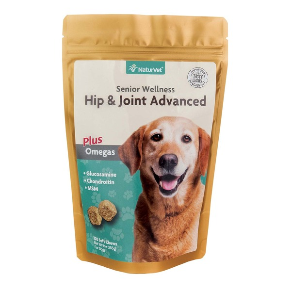 NaturVet Naturals Senior Hip & Joint Soft Chews Advanced Formula For Dogs 9 Oz.
