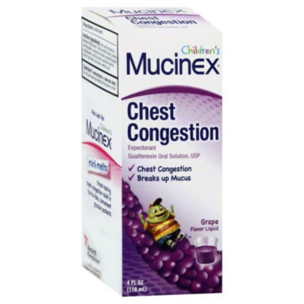 Mucinex Children's Guaifenesin Grape Flavor 100mg Liquid Expectorant