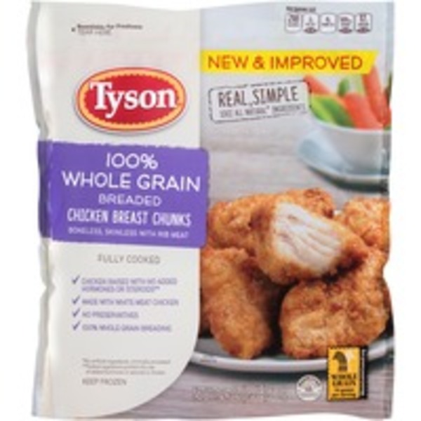 Tyson   Frozen Breaded Whole Grain Breaded Chicken Breast Chunks