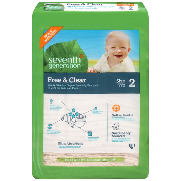 Seventh Generation Free & Clear Stage 2 12-18 Lbs. Baby Diapers