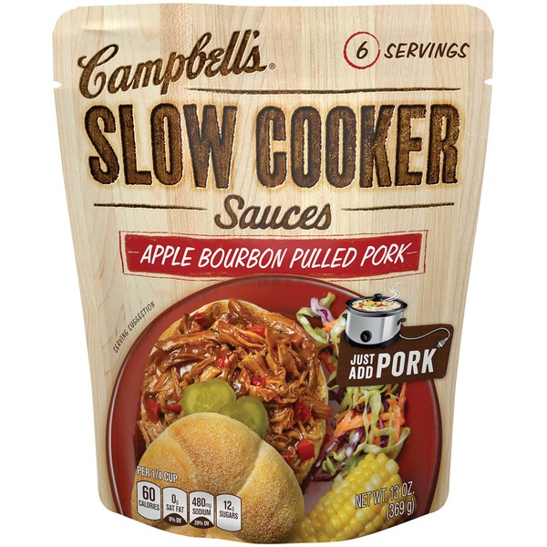Campbell's Dinner Sauces Apple Bourbon Pulled Pork Slow Cooker Sauces