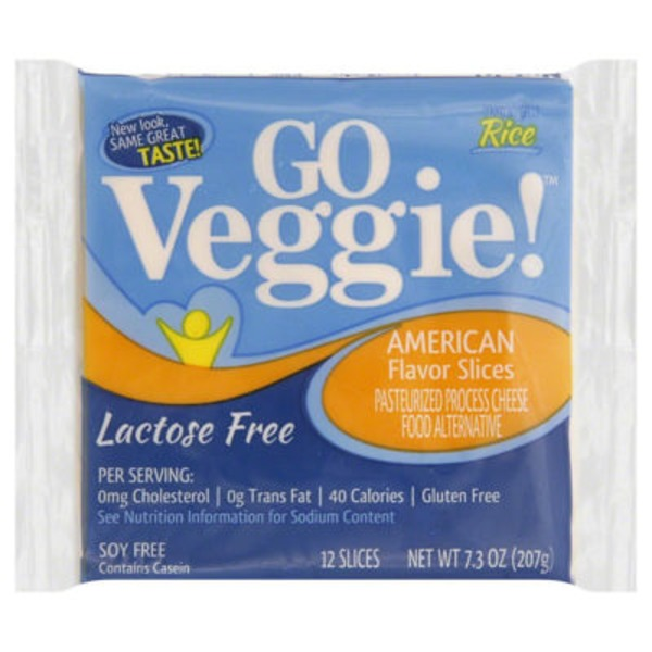 GO Veggie! Rice, Lactose Free Cheese Slices American - 12 CT