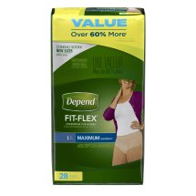 Depend FIT-FLEX Incontinence Underwear for Women, Maximum Absorbency, L, 28 count