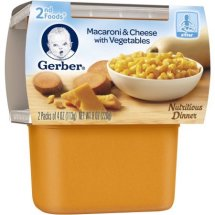 Gerber 2nd Foods Macaroni & Cheese with Vegetables Baby Food, 4 oz. Tubs, 2 Count