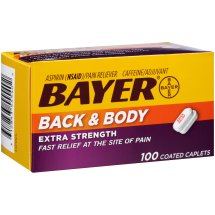 Bayer Back & Body Extra Strength Aspirin, 500mg Coated Tablets, Fast Relief at the Site of Pain, Pain Reliever with 32.5mg Caffeine, 100 Count