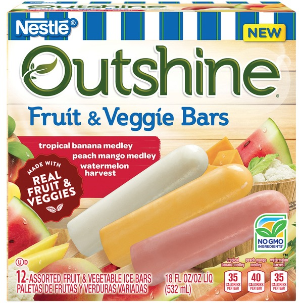 Outshine Tropical Banana Medley, Peach Mango Medley, Watermelon Harvest Fruit & Veggie Bars