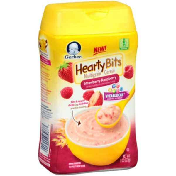 Gerber Cereal Hearty Bits Strawberry Raspberry Multigrain Toddler Cereal