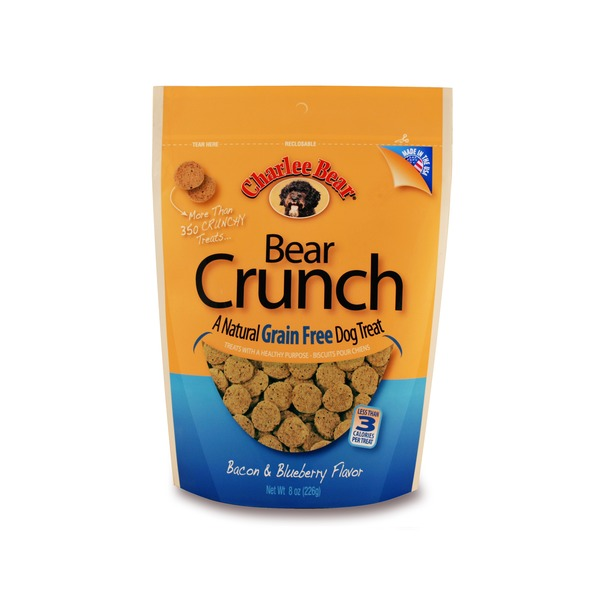 Charlee Bear Bear Crunch A Natural Grain Free Dog Treat Bacon & Blueberry Flavor