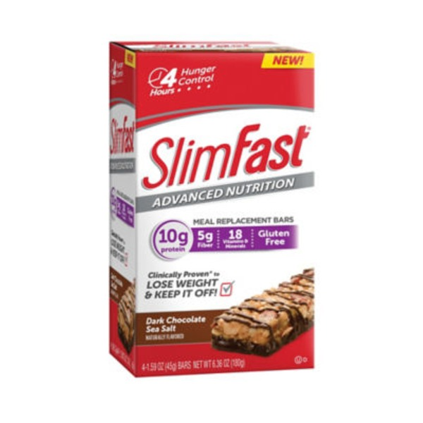 Slimfast Advanced Nutrition Dark Chocolate Sea Salt Meal Replacement Bars