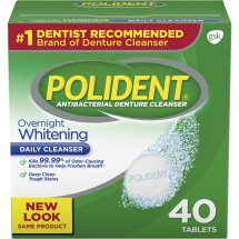 Polident Overnight Whitening Antibacterial Denture Cleanser Tablets, Triple Mint, 40 Ct