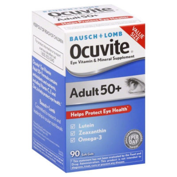Bausch & Lomb Ocuvite Eye Vitamin & Mineral Supplement Adult 50+ Soft Gels - 90 CT