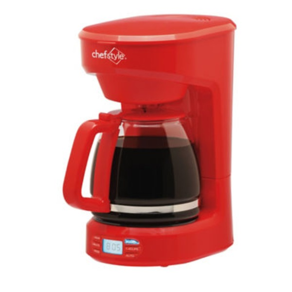 Chef Style 12 Cup Programmable Coffee Maker, Red