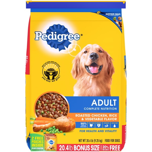 Pedigree Complete Nutrition Roasted Chicken, Rice & Vegetable Flavor Adult Dog Food, Bonus Size