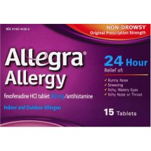 Allegra 24 Hour Non-Drowsy Indoor and Outdoor Allergy Relief Tablets 15ct