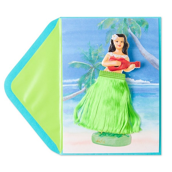 Papyrus Hula Girl On Spring Card