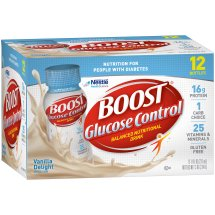 BOOST GLUCOSE CONTROL Nutritional Drink, Vanilla Delight, 8 fl oz Bottle, 12 Pack