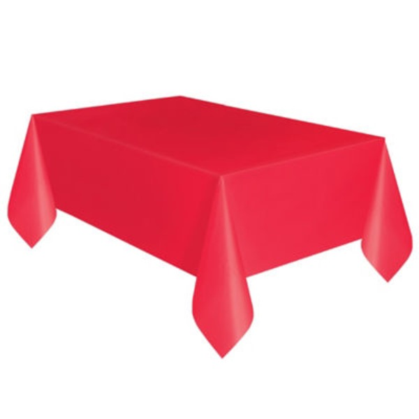 Unique Solid Red Plastic Table Cover